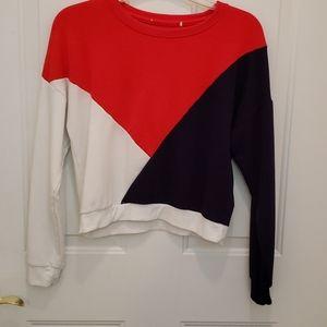 Girls Red, White & Blue Cropped Sweatshirt